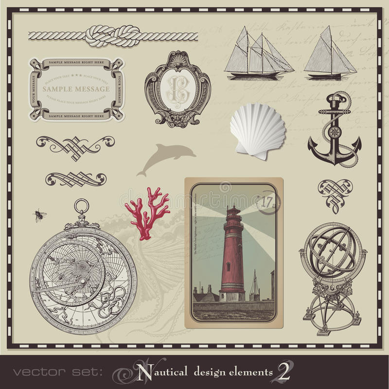 Zeevaart ontwerpelementen (plaats 2) royalty-vrije illustratie