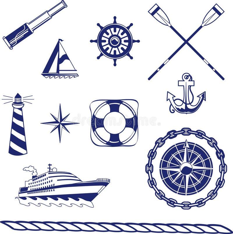 Zeevaart Pictogrammen stock illustratie