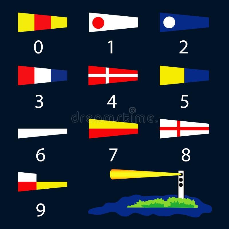 Zeevaart signaalvlaggen - aantallen vector illustratie