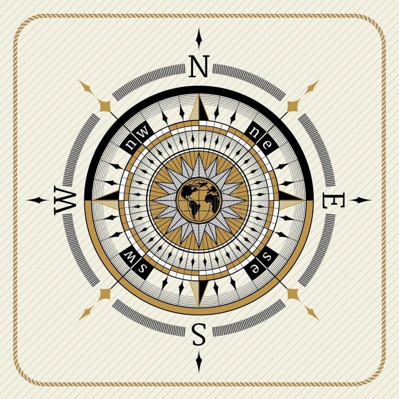 Zeevaart uitstekend kompas 04 royalty-vrije illustratie
