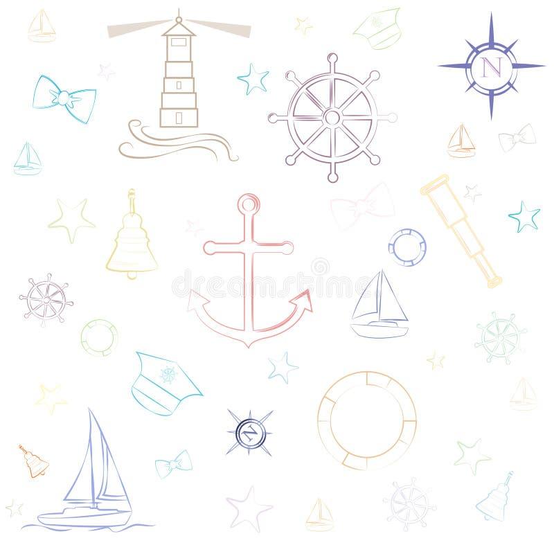 Zeevaart van het overzeese van het de illustratieontwerp boot preppy gekleurde pictogram vector het elementenreeks stock illustratie