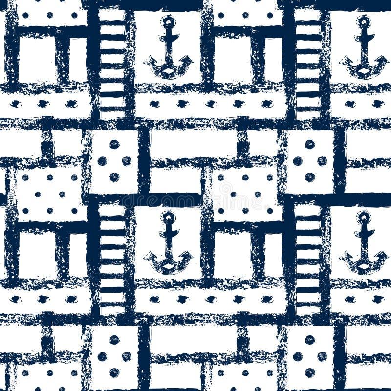 Zeevaart van van van grunge geometrisch rooster, strepen, ankers en punten naadloos patroon, vector royalty-vrije illustratie