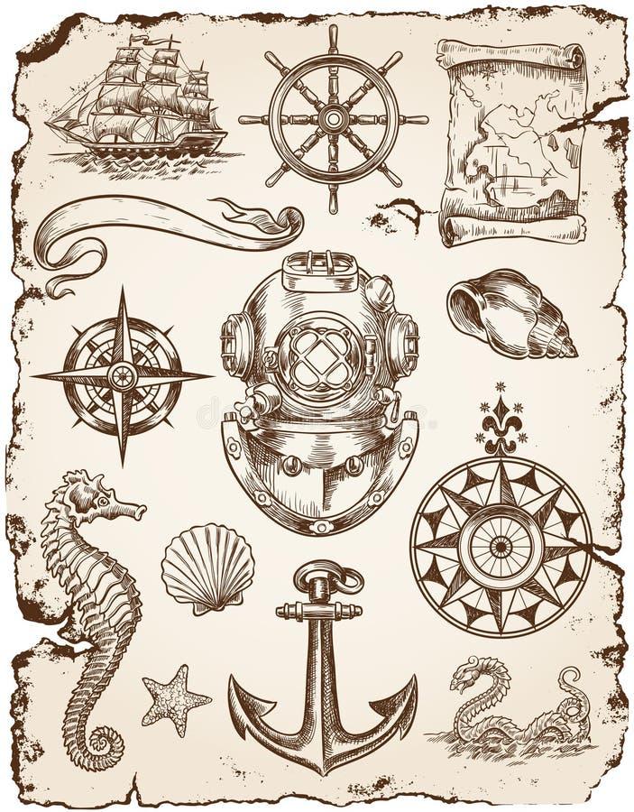 Zeevaart Vectorillustratiereeks vector illustratie