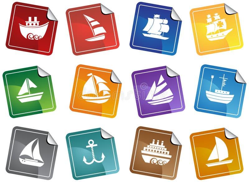Zeevaart Webknopen - stickers royalty-vrije illustratie