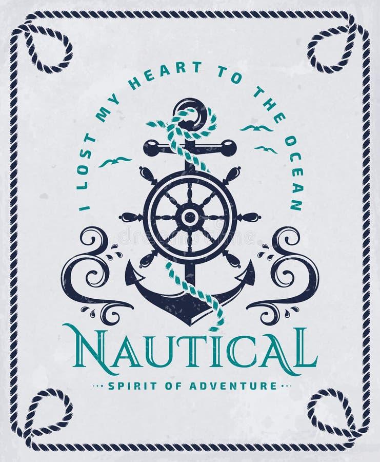 Zeevaartaffiche met anker, stuurwiel en kabelkader royalty-vrije illustratie