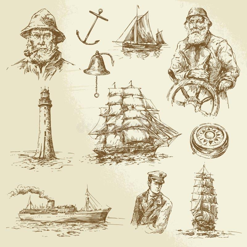 Zeevaartelementen stock illustratie