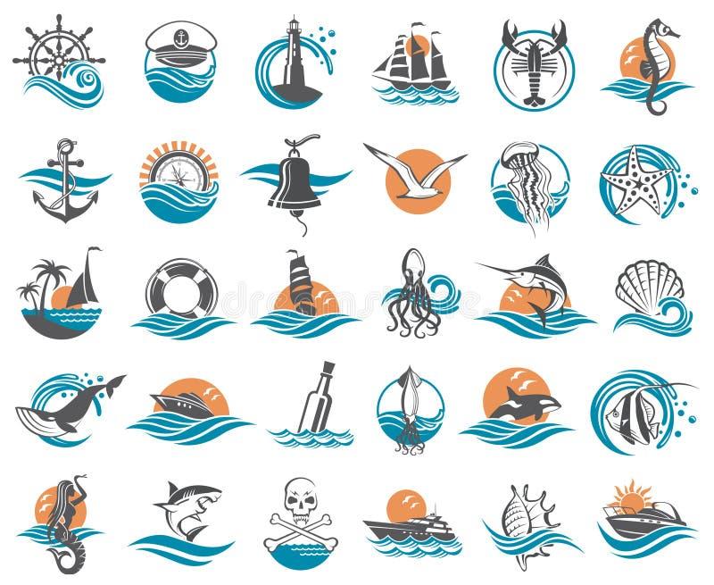 Zeevaartelementeninzameling vector illustratie