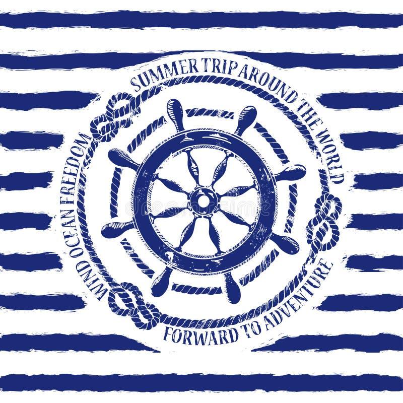 Zeevaartembleem met overzees wiel stock illustratie