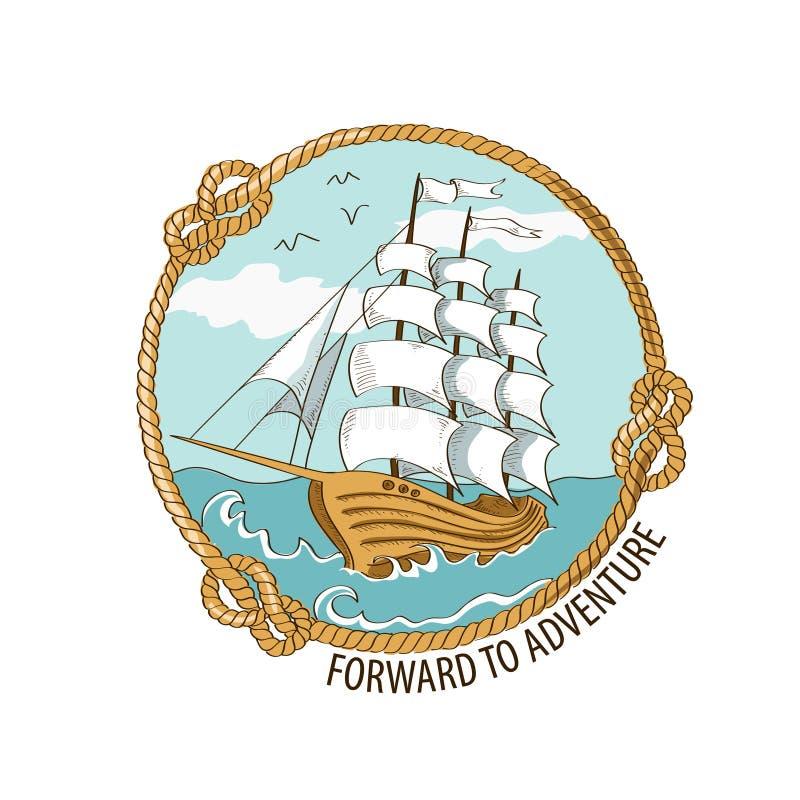 Zeevaartembleem met varend schip royalty-vrije illustratie