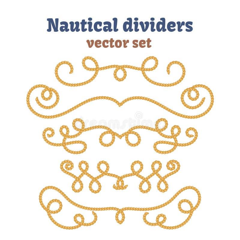 Zeevaartkabels Geplaatste verdelers Decoratieve vectorknopen Sierdecorelementen met kabel stock illustratie