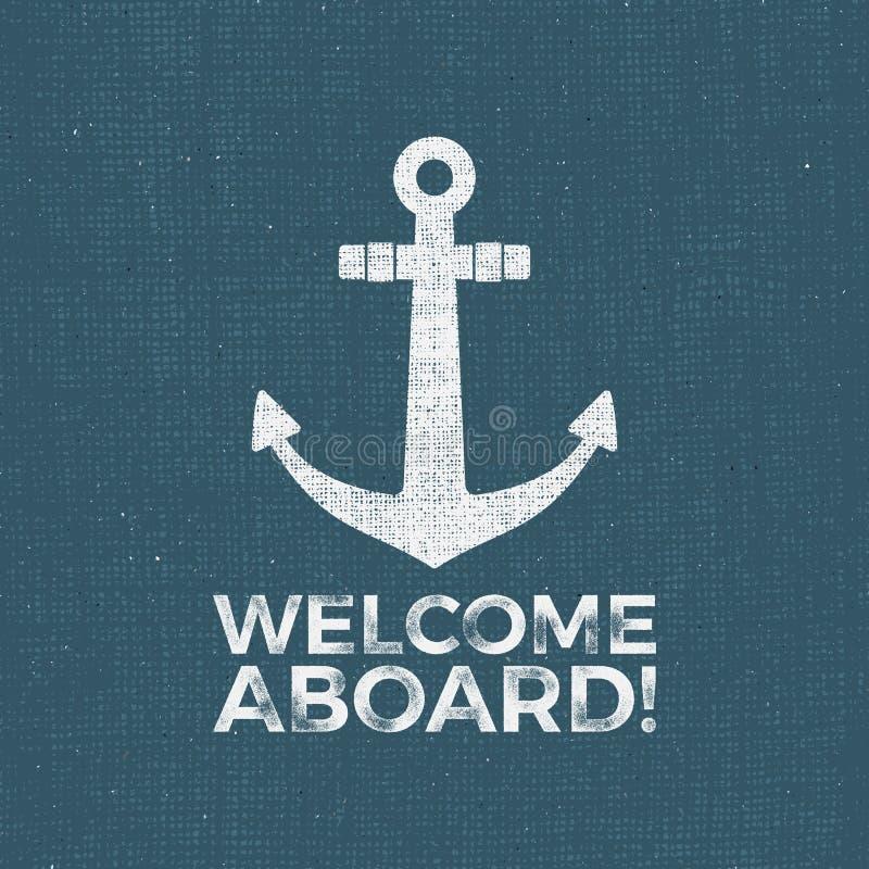 Zeevaartontwerp Zeemans vectorembleem Van de ankeretiket en druk ontwerp met ankersymbool, typografiekenteken De tekening van de  vector illustratie