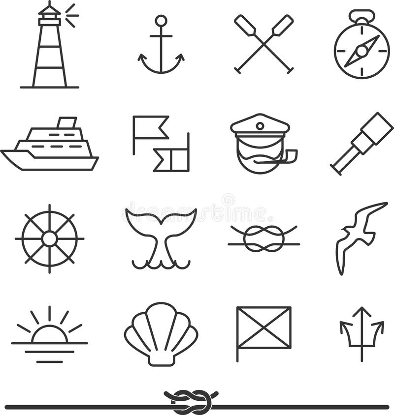 Zeevaartpictogrammen stock illustratie