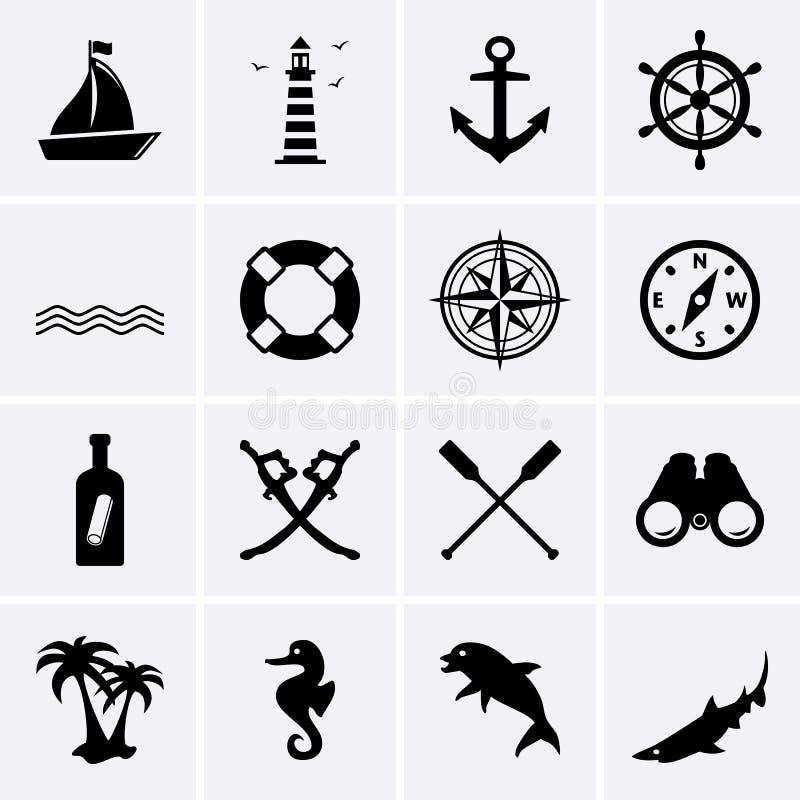 Zeevaartpictogrammen vector illustratie