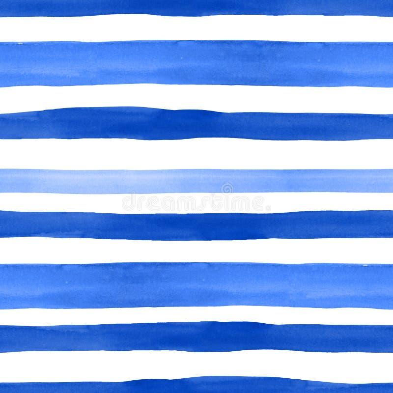 Zeevaartstijl naadloos patroon met waterverf blauwe horizontale strepen op witte achtergrond De zomerhand getrokken textuur stock illustratie