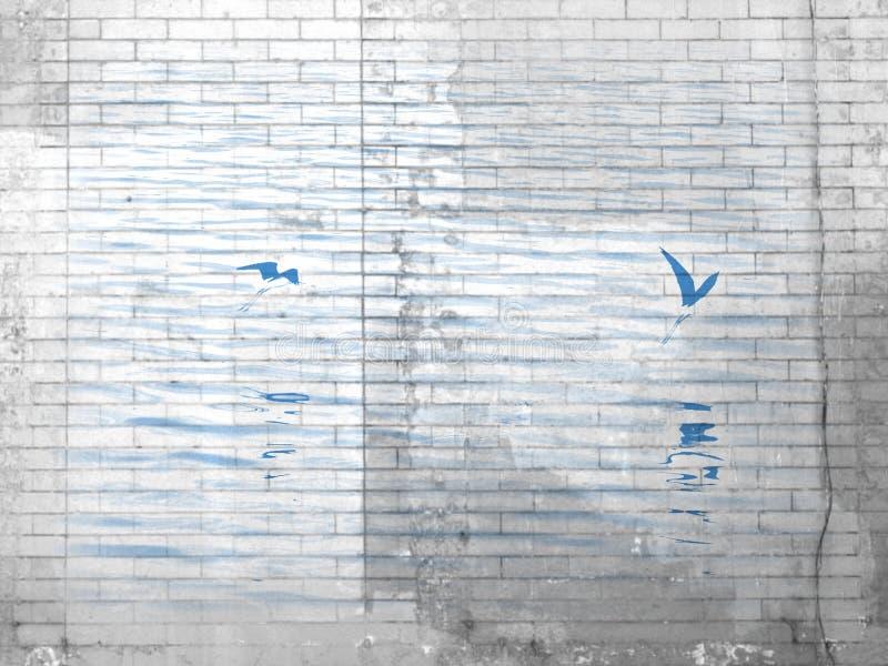 Zeevogels over Water in Baksteenpatroon royalty-vrije stock fotografie