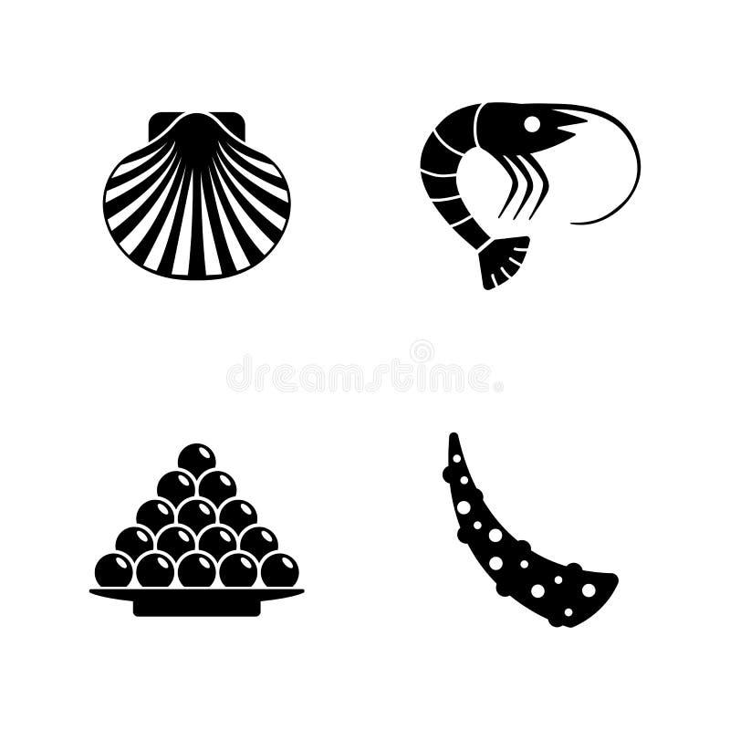 Zeevruchten Eenvoudige Verwante Vectorpictogrammen stock illustratie
