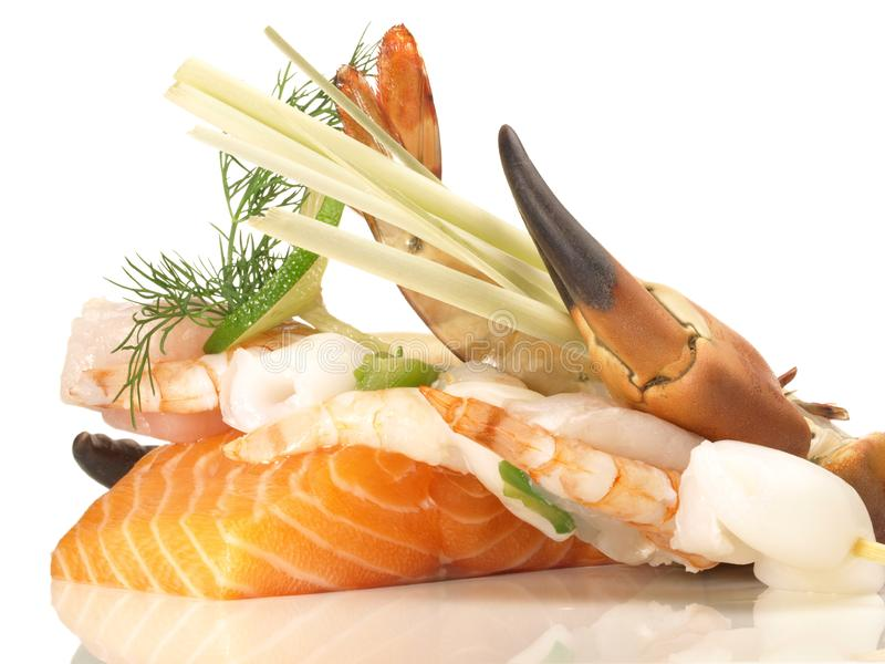 Zeevruchten en vissen stock foto's