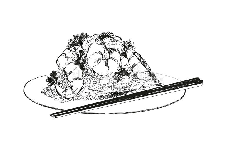 Zeevruchten. Garnalen. stock illustratie
