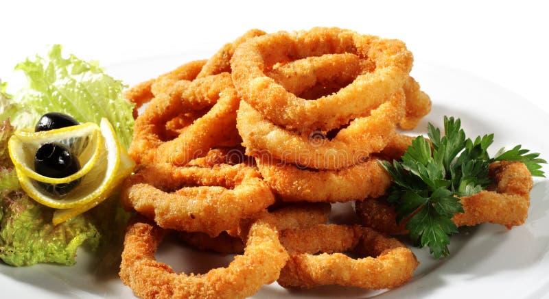Zeevruchten - Gebraden Calamari stock afbeelding