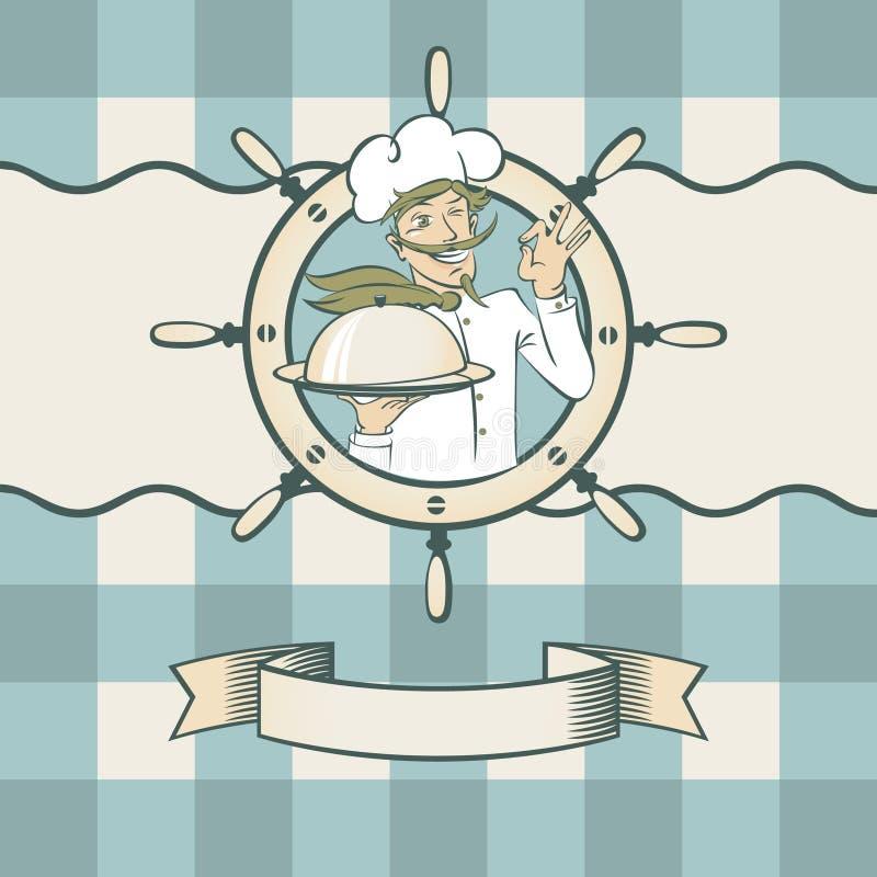Zeevruchten met chef-kok stock illustratie
