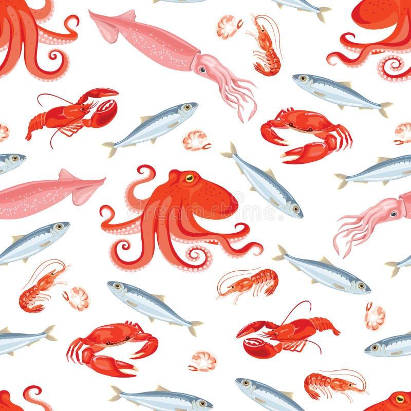 Zeevruchten naadloos patroon Pijlinktvis, octopus, sardines, zeekreeft, krab, garnalen stock illustratie