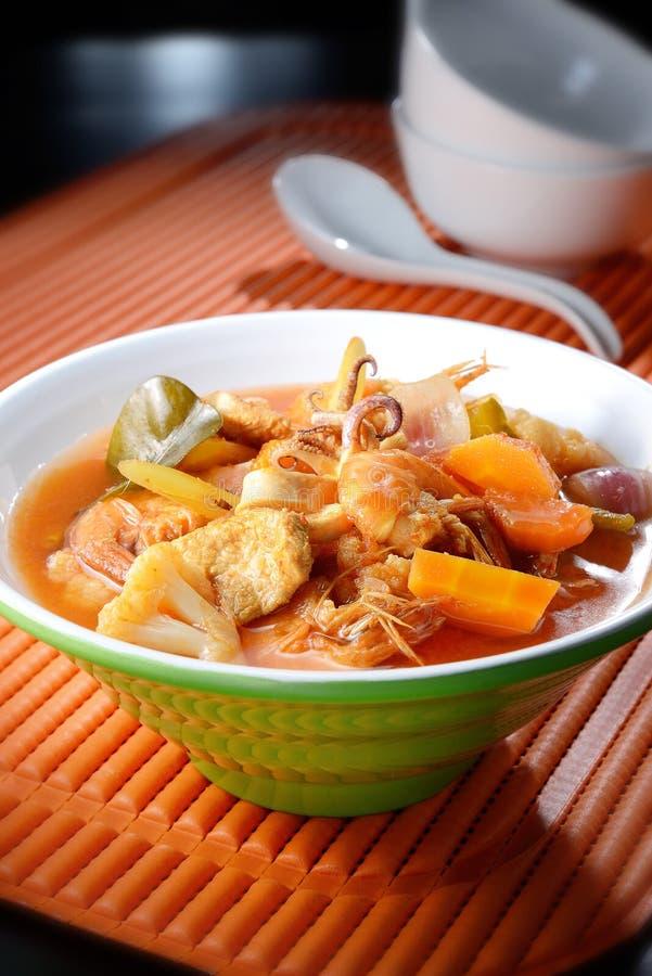 Zeevruchten Tom Yam Soup royalty-vrije stock foto