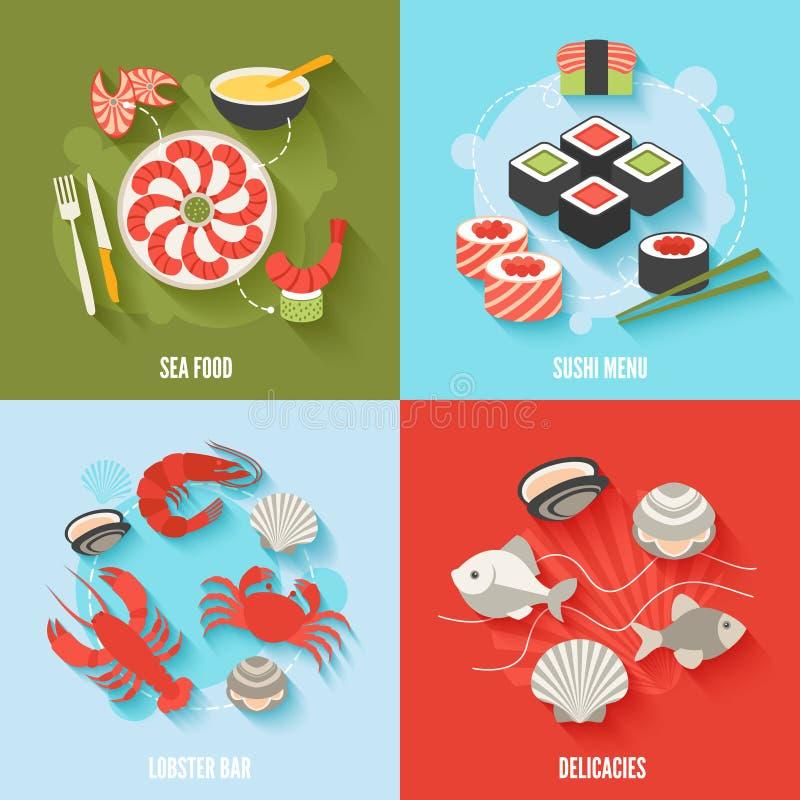 Zeevruchten vlakke reeks stock illustratie