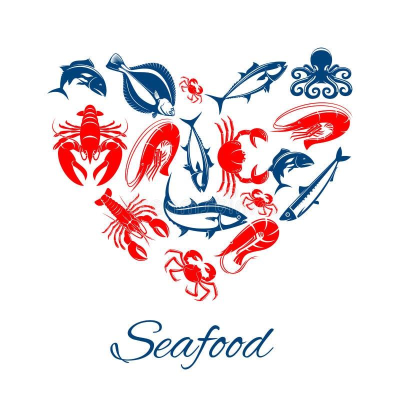 Zeevruchtenaffiche in het vectorsymbool van de hartvorm stock illustratie