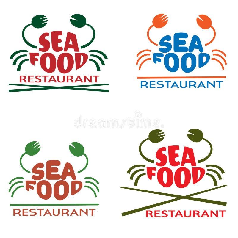 Zeevruchtenembleem voor restaurant, koffie, verse markt, bar, vectoremblemen vector illustratie