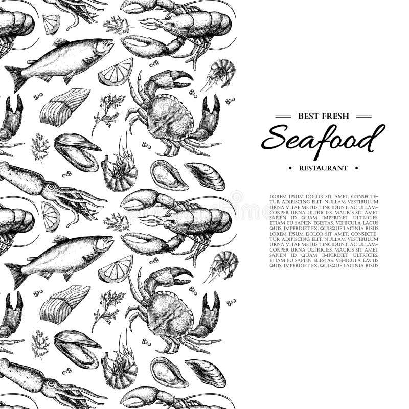 Zeevruchtenhand getrokken vector ontworpen illustratie Krab, zeekreeft, garnalen, oester, mossel, kaviaar en pijlinktvis royalty-vrije illustratie