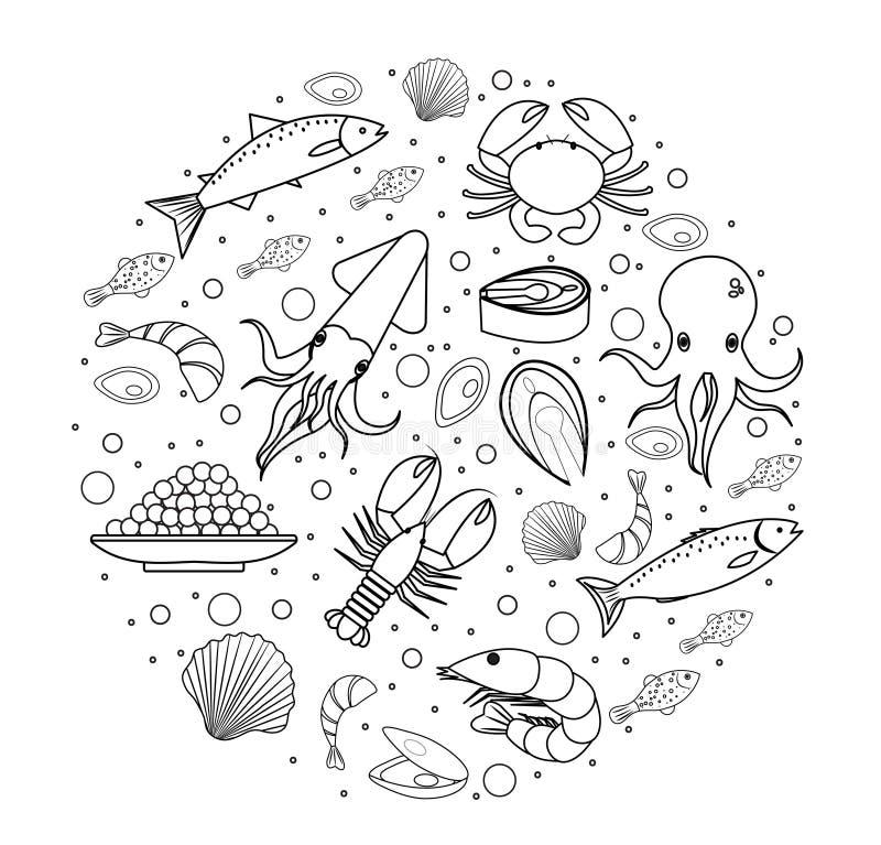 Zeevruchtenpictogrammen in ronde vorm, lijn, schets, krabbelstijl worden geplaatst die Overzees voedselinzameling vector illustratie