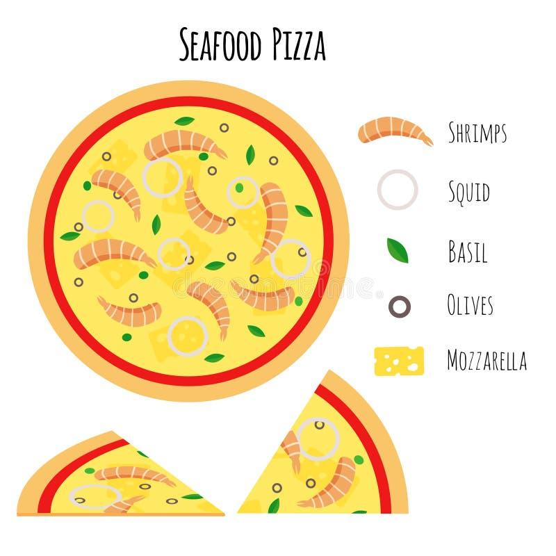 Zeevruchtenpizza met ingrediënten vector illustratie