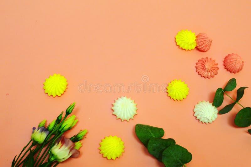 Zefier en bloemen op een roze achtergrond met exemplaarruimte stock foto