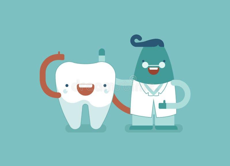 Zeg hallo van tandfamilie, tandarts en tand vector illustratie