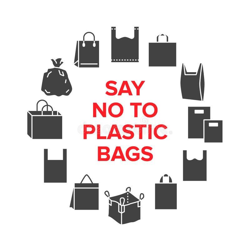 Zeg nr aan het malplaatje van de plastic zakkencirkel met vlakke glyphpictogrammen Nul afval vectorillustratie voor affiche Teken stock illustratie