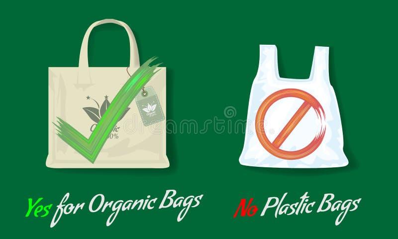 Zeg nr aan plastic zakken en ja voor organische zakken Vlakke stijl Vectorillustratie met acryl ja of geen tekens vector illustratie