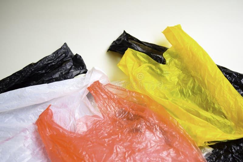 Zeg Nr aan Plastic Zakken - Niet meer Plastic Concept ge?soleerde witte achtergrond stock afbeeldingen