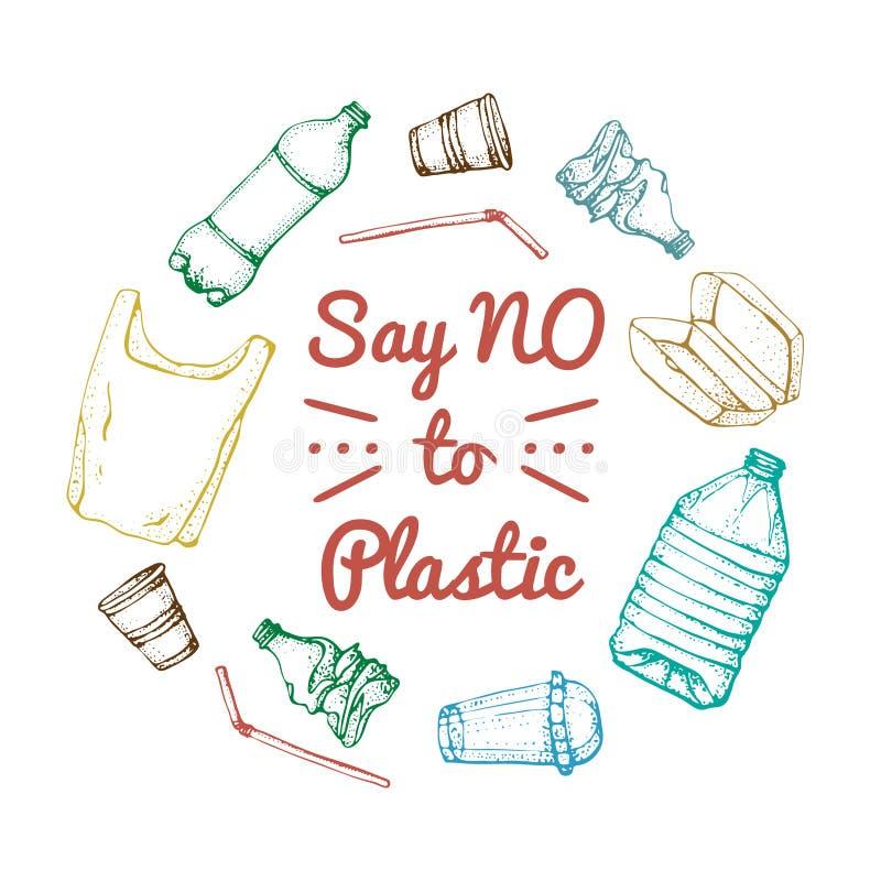 Zeg nr aan plastiek Motievenuitdrukking De hand getrokken geplaatste pictogrammen van de krabbel plastic verontreiniging Vector s vector illustratie