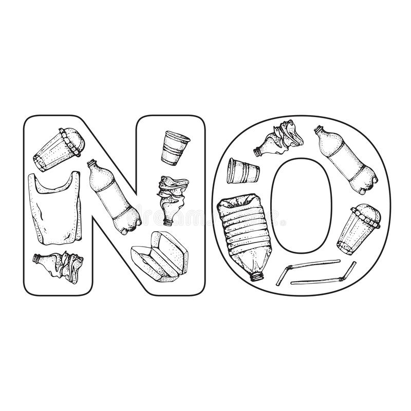 Zeg nr aan plastiek Plastic verontreinigingsaffiche Schetsmatige symboleninzameling Fles, Pakket, Verontreiniging, cofeekop, stro stock illustratie