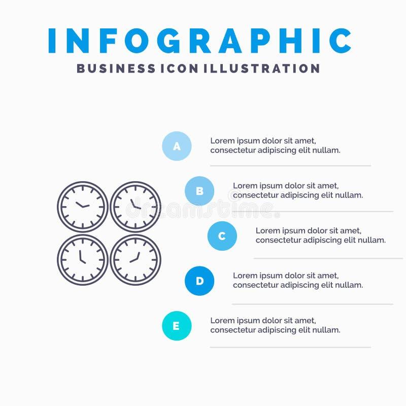 Zegar, biznes, zegary, biuro Osiąga, strefa czasowa, Ścienni zegary, Światowa czas linii ikona z 5 kroków prezentacji infographic ilustracji