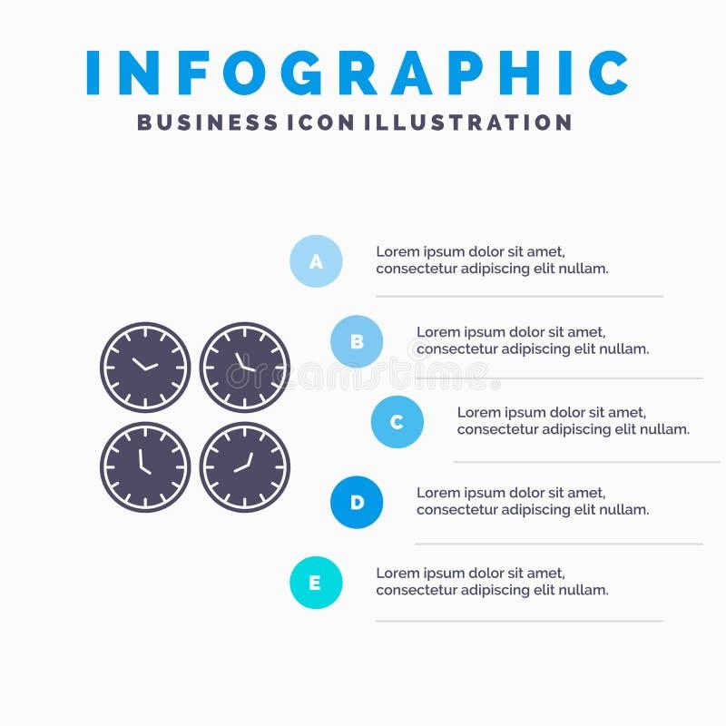 Zegar, biznes, zegary, biuro zegary, strefa czasowa, Ścienni zegary, Światowego czasu ikony Infographics 5 kroków prezentacji Sta ilustracja wektor