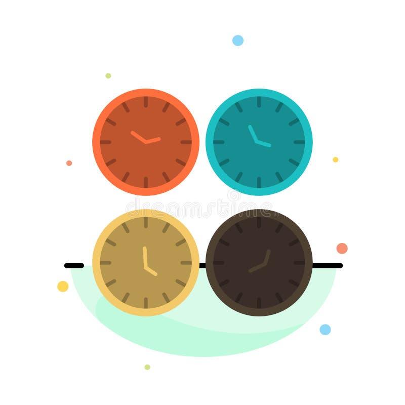 Zegar, biznes, zegary, biuro zegary, strefa czasowa, Ścienni zegary, Światowego czasu koloru ikony Abstrakcjonistyczny Płaski sza ilustracja wektor