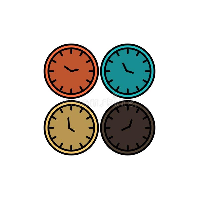 Zegar, biznes, zegary, biuro zegary, strefa czasowa, Ścienni zegary, Światowego czasu koloru Płaska ikona Wektorowy ikona sztanda ilustracja wektor