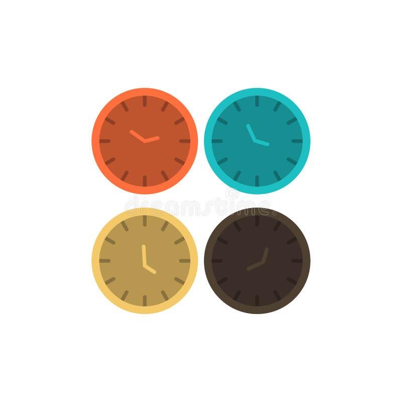 Zegar, biznes, zegary, biuro zegary, strefa czasowa, Ścienni zegary, Światowego czasu koloru Płaska ikona Wektorowy ikona sztanda ilustracji