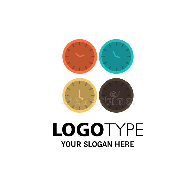 Zegar, biznes, zegary, Biurowi zegary, strefa czasowa, Ścienni zegary, Światowego czasu logo Biznesowy szablon p?aski kolor ilustracja wektor