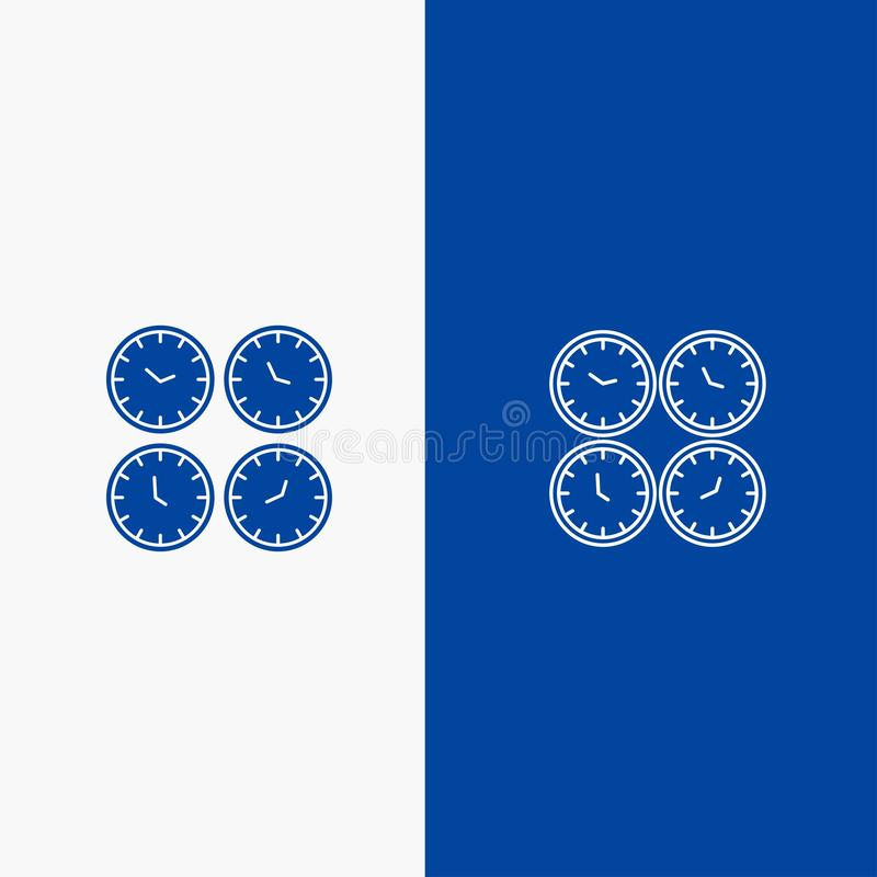 Zegar, biznes, zegary, Biurowi zegary, strefa czasowa, Ścienni zegary, Światowej czas linii, glifu Stałej ikony sztandaru Błękitn ilustracja wektor