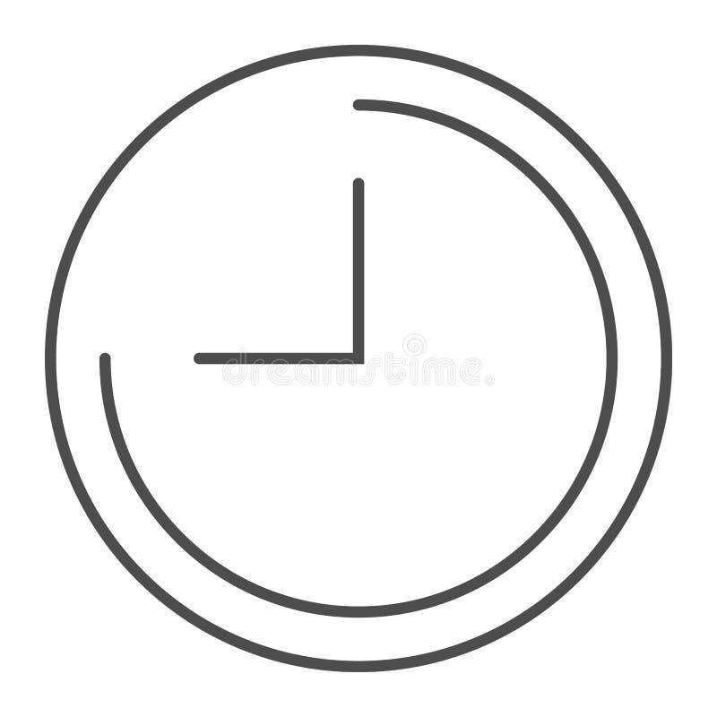 Zegar cienka kreskowa ikona Czas wektorowa ilustracja odizolowywająca na bielu Tarcza konturu stylu projekt, projektujący dla sie ilustracji