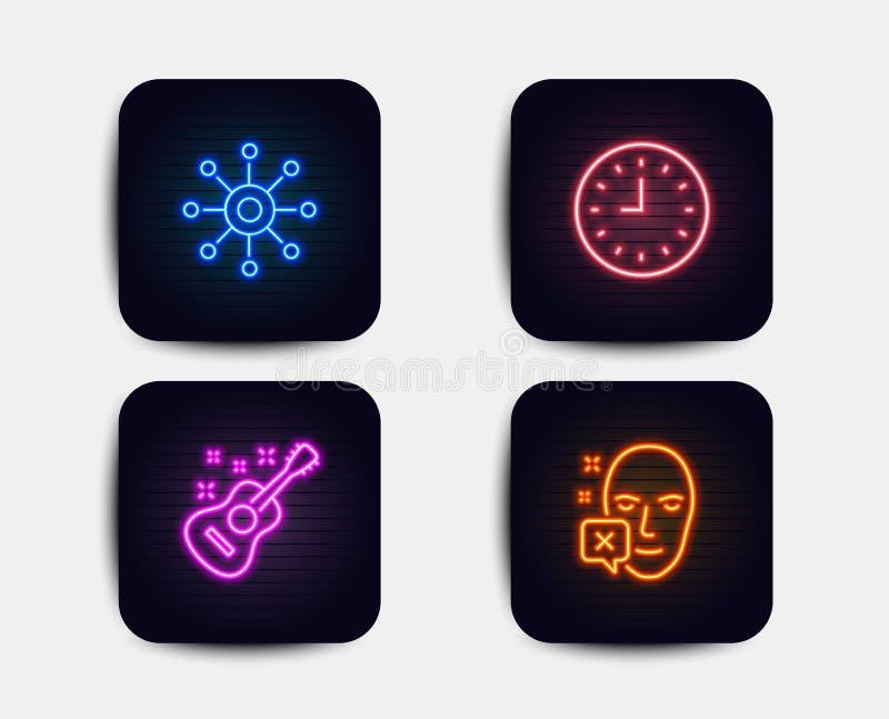 Zegar, gitara i Wielokanałowe ikony, Twarz obniżający znak Synchronizuje lub zegarek, Akustyczny instrument, Multitasking wektor royalty ilustracja