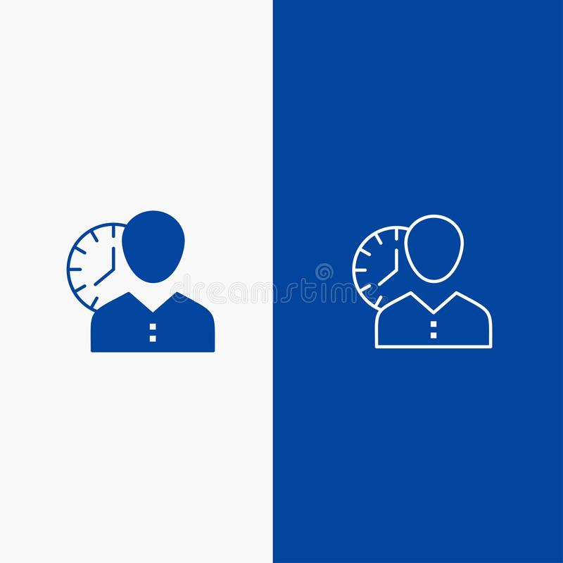 Zegar, godziny, mężczyzna, ogłoszenie towarzyskie, rozkład, czas, Synchronizować, użytkownik linia i glif Stałej ikony sztandaru  ilustracja wektor