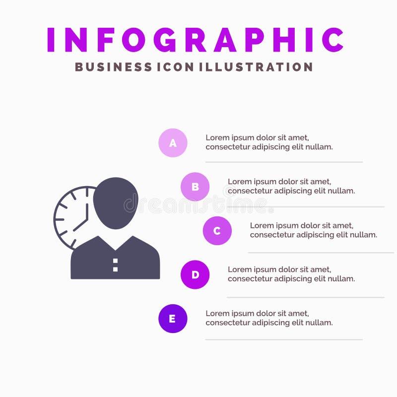 Zegar, godziny, mężczyzna, ogłoszenie towarzyskie, rozkład, czas, Synchronizuje, użytkownik ikony Infographics 5 kroków prezentac royalty ilustracja